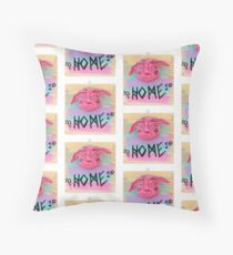 HOME greeting monster face greeting sculpture  Throw Pillow