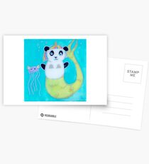 Panda Mermaid Unicorn and Jelly fish angel friend Postcards