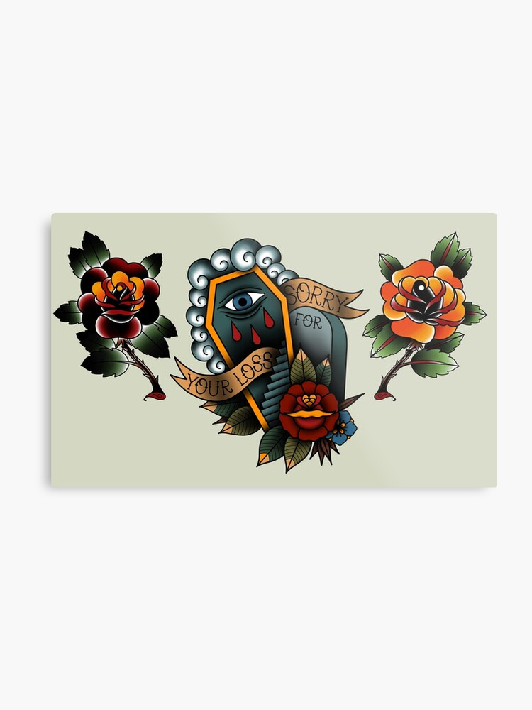 American Traditional Tattoo Flash By V Affliction Metal Print By V