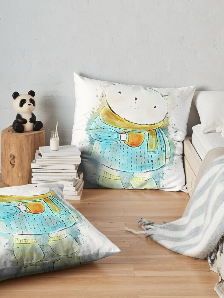Vista alternativa de Cojines de suelo Polar bear cute bear glowing Art