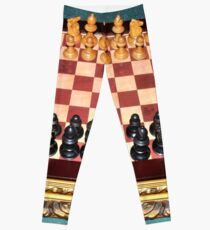 Old 1900s chess set on a medieval board Leggings