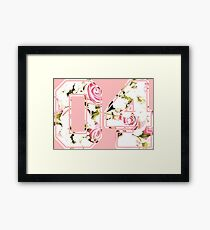 4th b-day gift roses number 04 4 birthday pink Framed Print