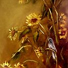 Bluebird and Sunflowers by Monica Vanzant