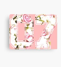 7th b-day gift roses number 07 7 birthday pink Canvas Print