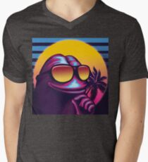 Rare Outrun Pepe the Frog Men's V-Neck T-Shirt