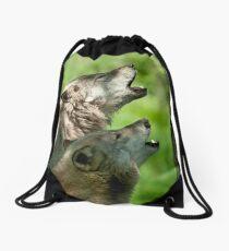 Timber Wolf Howl Drawstring Bag