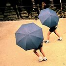 Two Blue Umbrellas by Wayne King