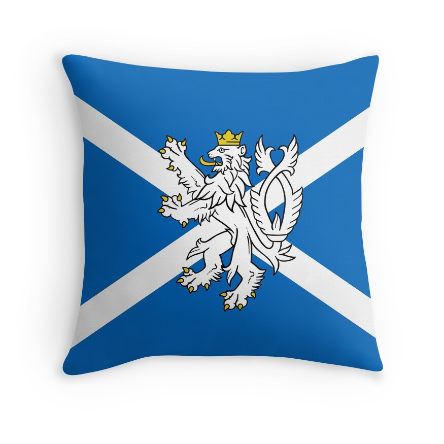 Blue and White Scottish Flag with White Lion
