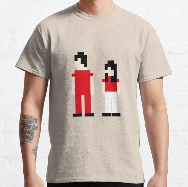Le pixel des rayures blanches T-shirt classique