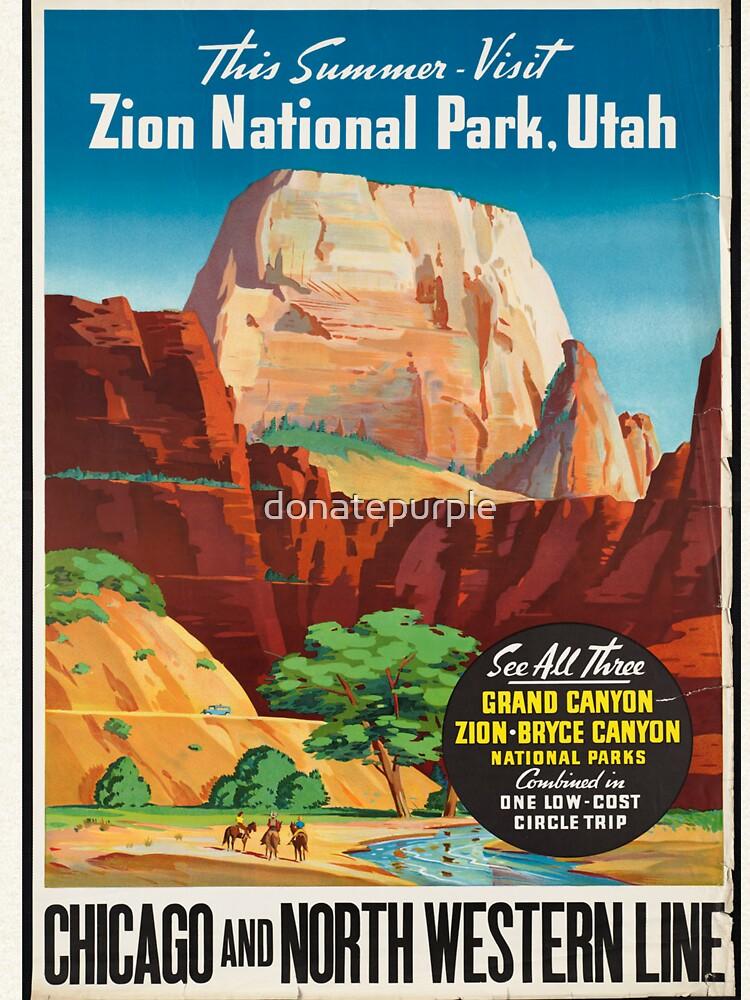 Cartel de viaje de la vendimia: Parque nacional Zion de donatepurple