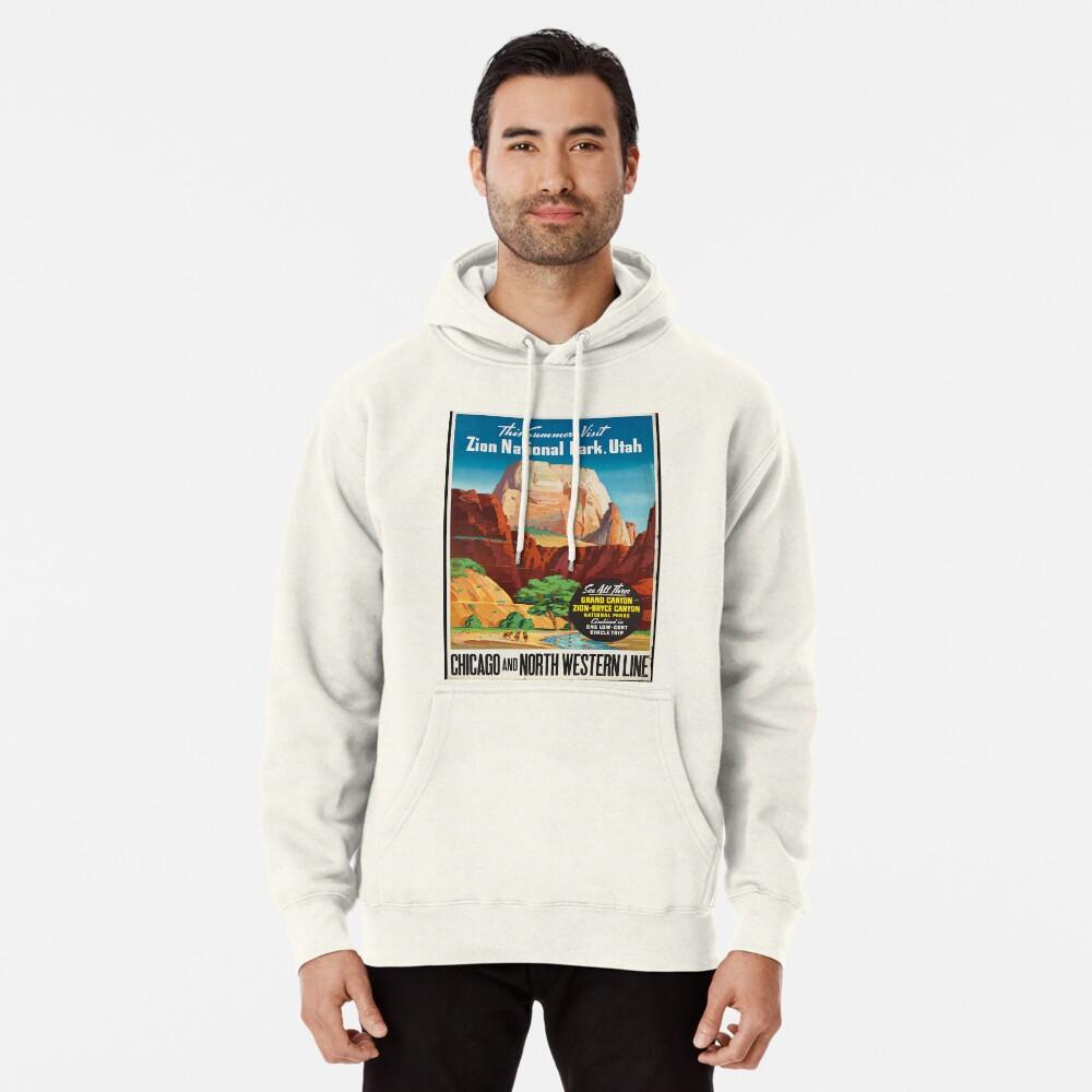 Cartel de viaje de la vendimia: Parque nacional Zion Sudadera con capucha