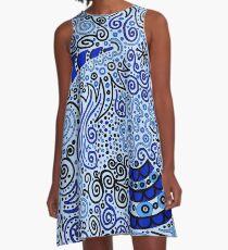 Blue Doodle Pattern A-Line Dress
