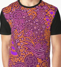 Orange, Pink, and Purple Doodle Pattern Graphic T-Shirt