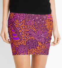 Orange, Pink, and Purple Doodle Pattern Mini Skirt