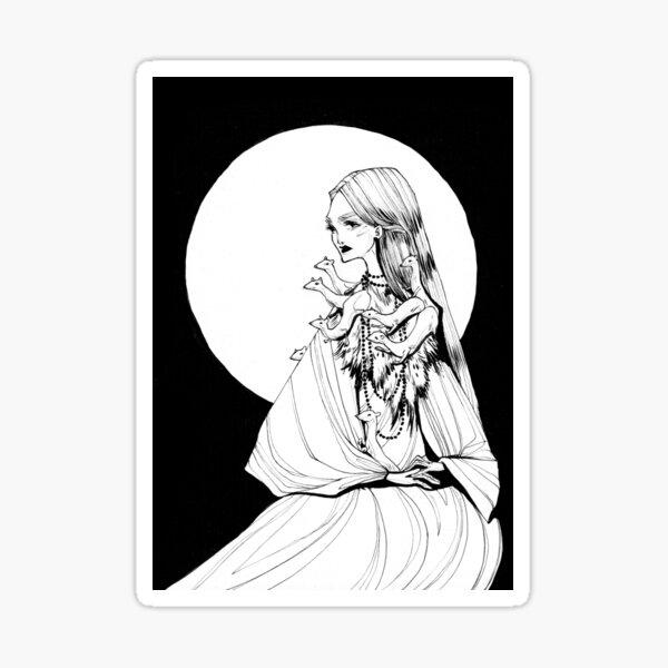Lady with Ferrets Sticker