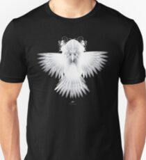 Strange Hummingbird 1B. White on black background. Unisex T-Shirt