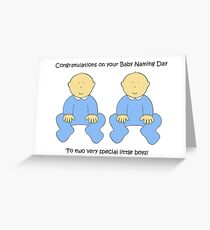 Twin Boys Baby Naming Ceremony Congratulations. Greeting Card