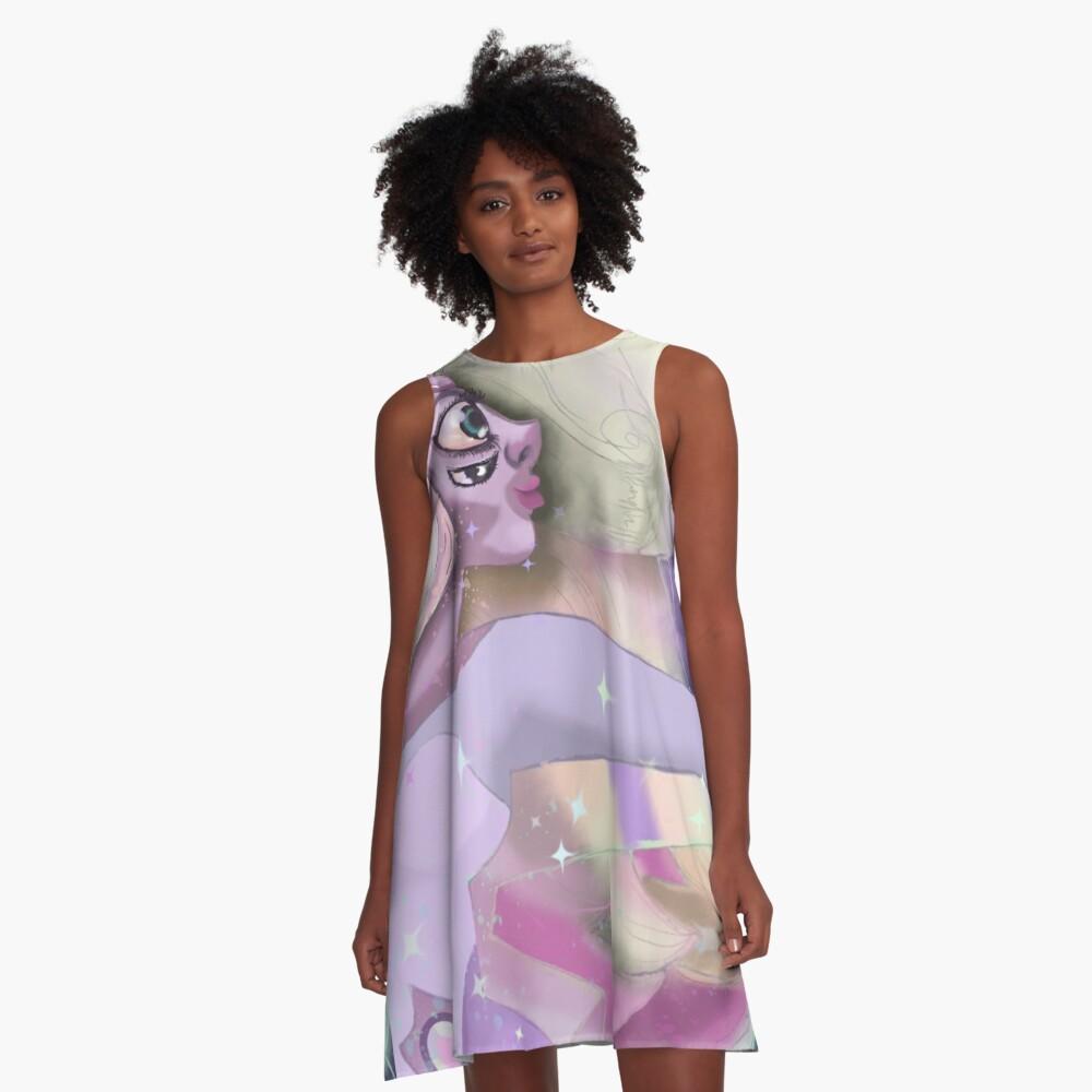 Rainbow Quartz in starlight A-Line Dress