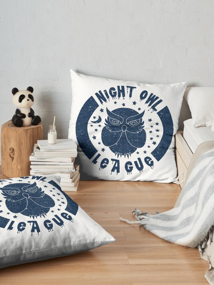 Alternate view of Night Owl League - BLUE Floor Pillow