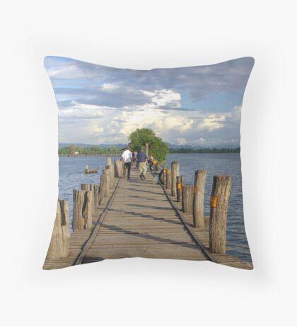 Teak footbridge, Mandalay, Burma Throw Pillow