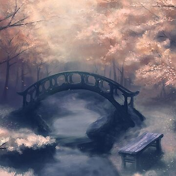 Bridge in a Cherry Blossom Forest by JMarielle