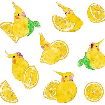 lemontiel - watercolor lemon cockatiel pattern by FandomizedRose
