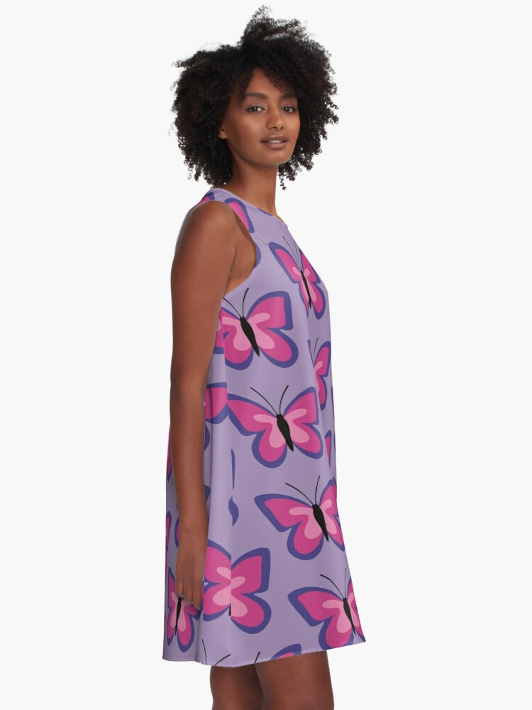 Alternate view of Violet Magenta Pink Butterfly A-Line Dress