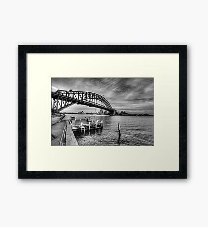 The Bridge - A Study In Black and White - The HDR Experience Framed Print