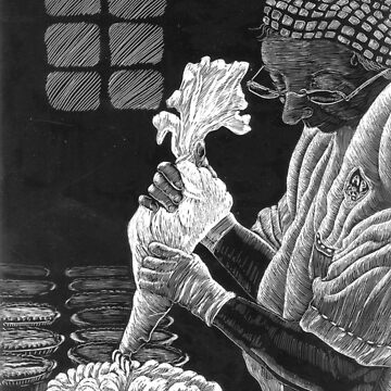 Making Pies scratchboard drawing black and white by Naquaiya