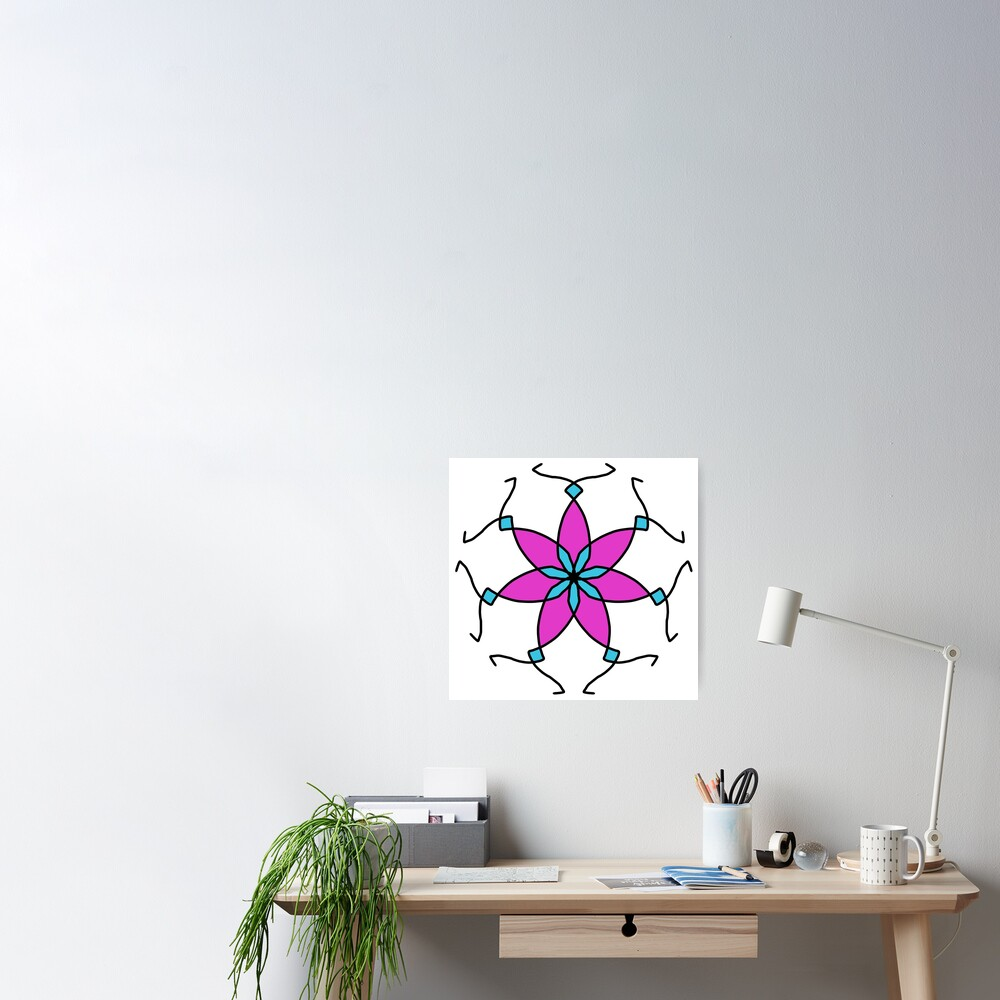 Purple and Teal Flower Geometric Pattern Design Poster