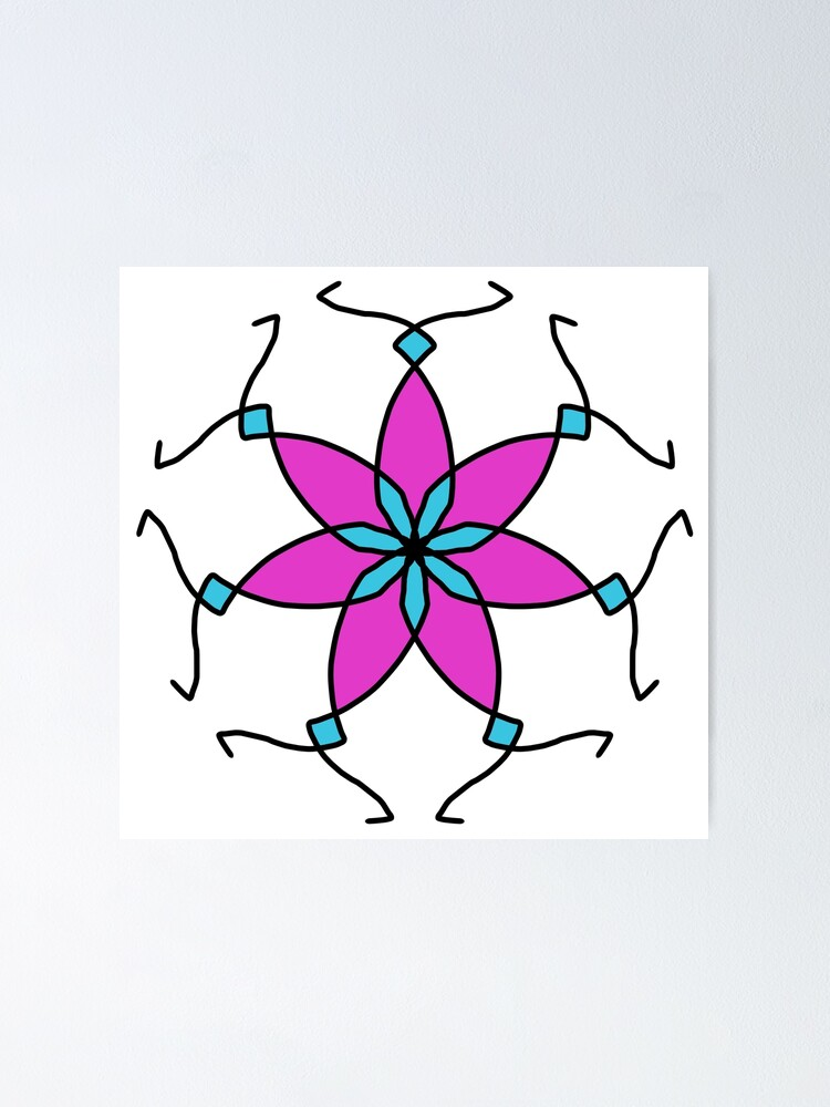 Alternate view of Purple and Teal Flower Geometric Pattern Design Poster