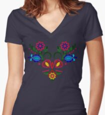 Multi Colored Ornament Women's Fitted V-Neck T-Shirt