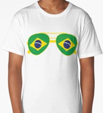 Brazilian Flag Brazil Sunglasses T-Shirt Brazil Flag Tee Long T-Shirt