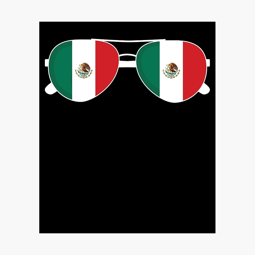 Mexikanische Flagge Mexiko Sonnenbrille Shirt Mexikanische Flagge Mexiko T-Shirt Fotodruck