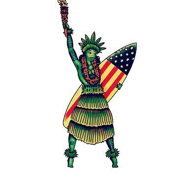 Statue of Liberty Hula Girl Pinup Tattoo by JamesShannon