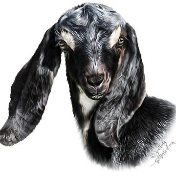 "Portrait of a Goat - Nubian Goat Kid ""CHUCK""  by IconicTee"
