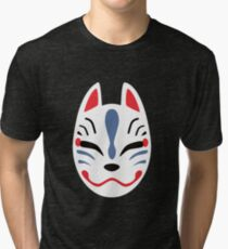 Japanese Fox Mask Tri-blend T-Shirt