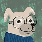 Dog in sweater wearing glasses by greenrainart
