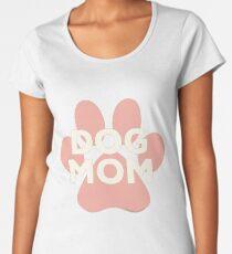 Camiseta premium de cuello ancho Letra de marfil con estampado de pata rosa para mamá de perro en estilo de renacimiento egipcio