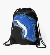 Dolphin cartoon glowing Art Drawstring Bag