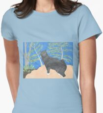 Annie The Cat Drawing by Julia Hanna Women's Fitted T-Shirt