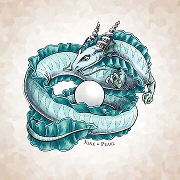 Birthstone Dragon: June Pearl Illustration  by stephsmith