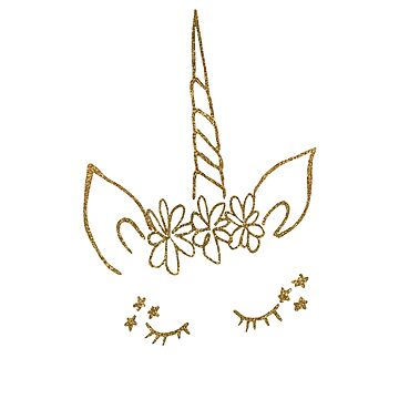 Gold Unicorn Outline by Jess Cargill by jesscargill