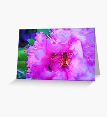 Shiny Bee Wings Soft Pink Flowers Painting Greeting Card