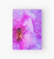 Shiny Bee Wings Soft Pink Flowers Painting Hardcover Journal
