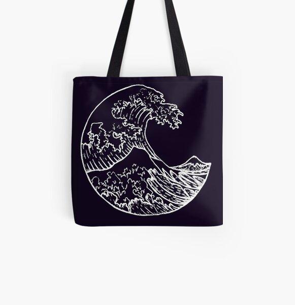 Great Wave off Kanagawa Black All Over Print Tote Bag