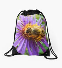 Fat Bumblebee Radiant Purple Aster Painting Drawstring Bag