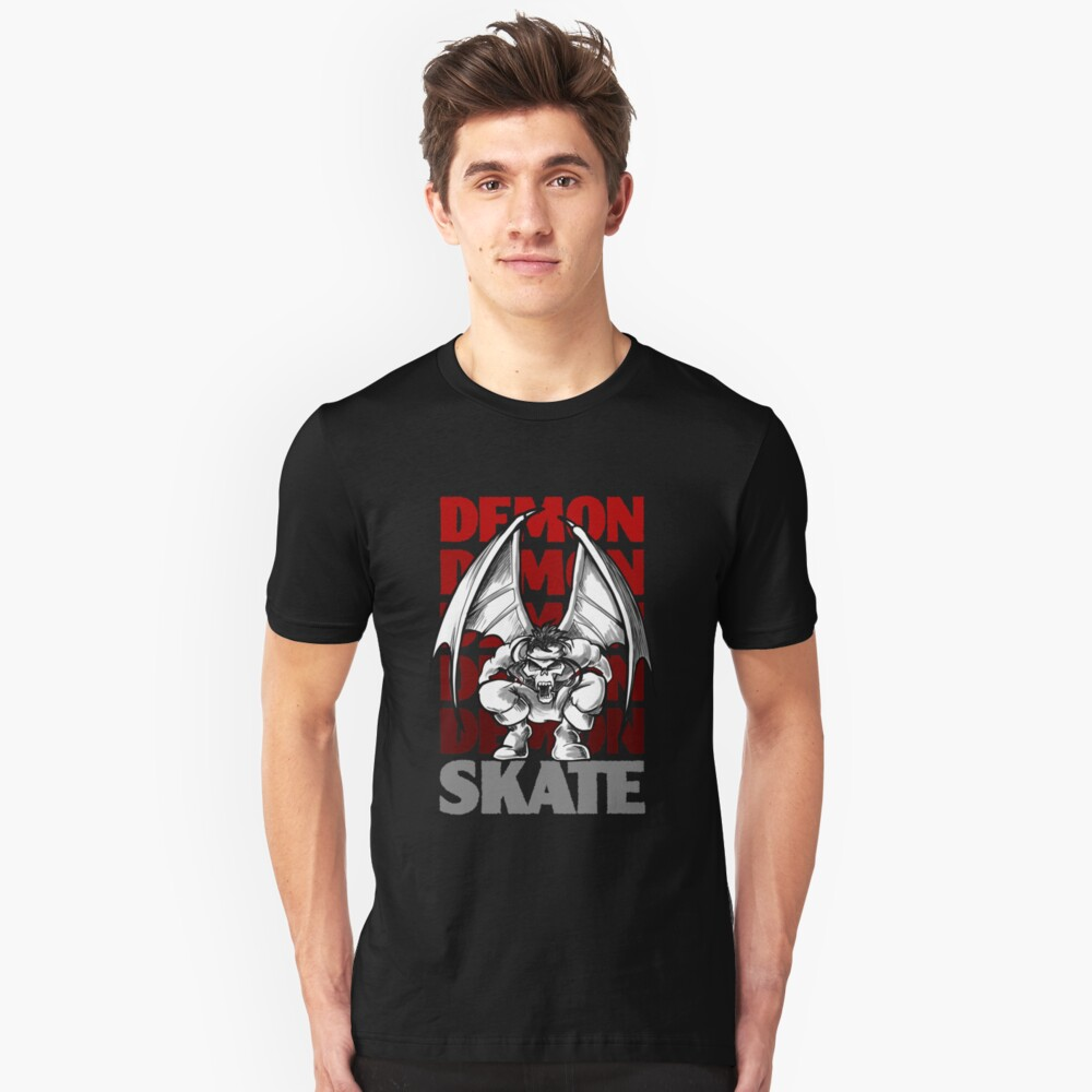Skull Demon Skate, Skateboard Design Slim Fit T-Shirt