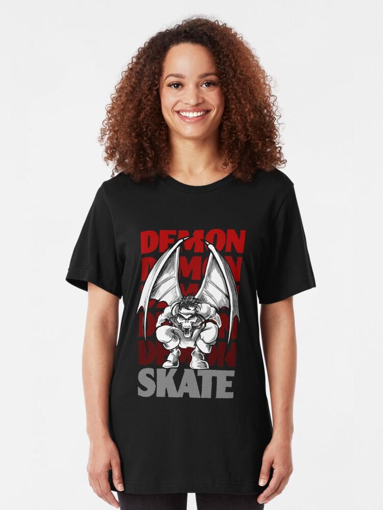 Alternate view of Skull Demon Skate, Skateboard Design Slim Fit T-Shirt
