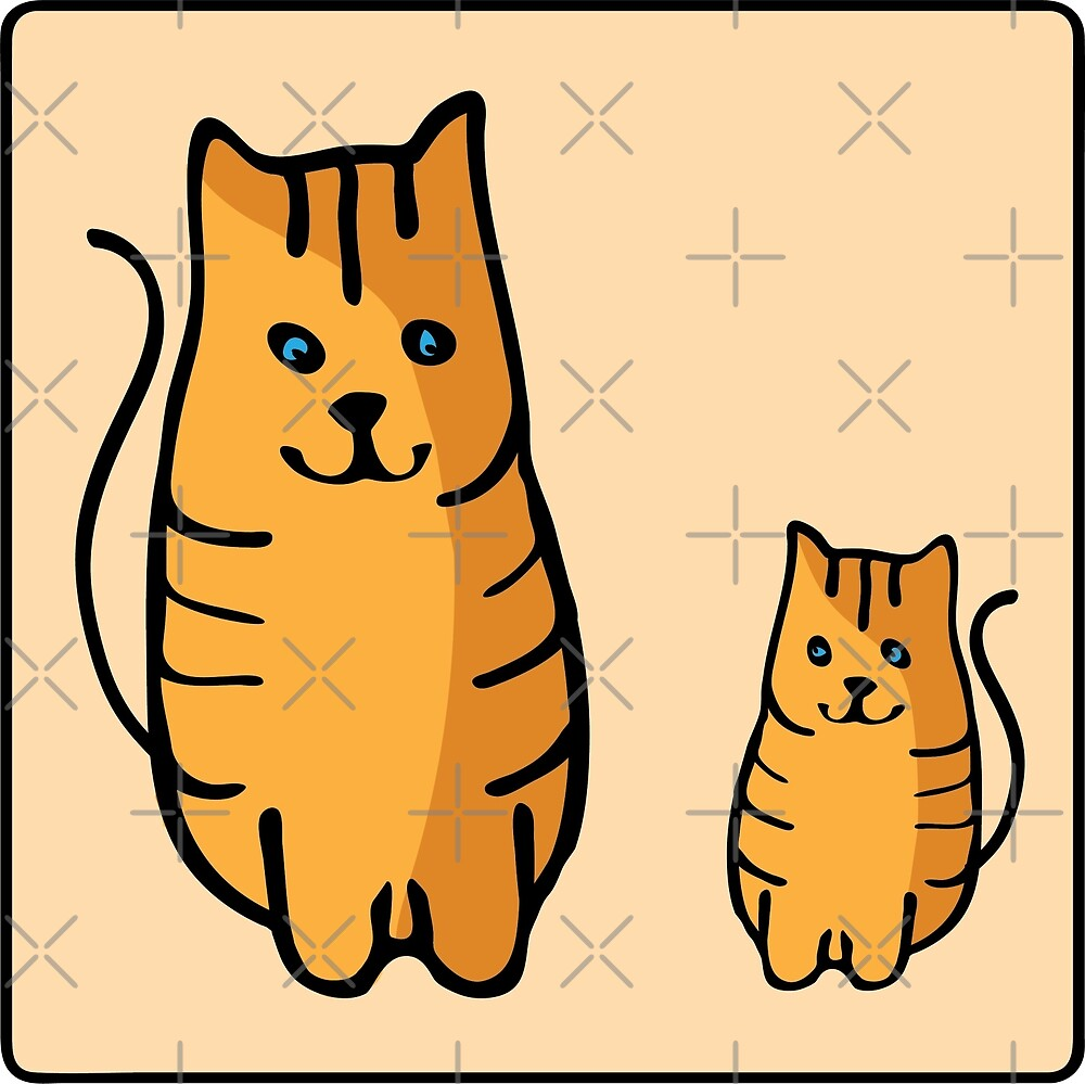 A cunning red cat family with blue eyes and black stripes. Cats look at each other. by asnia